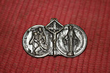 Antique Religious Christianity Silver Metal Tie Clip-God Jesus Christ Mary