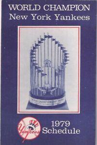 1979 WORLD CHAMPION NEW YORK YANKEES POCKET SCHEDULE Delta Airlines Advert.
