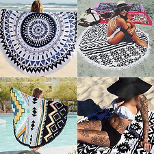 Bohemian Mandala Round Beach Tapestry Hippie Throw Yoga Mat Towel Tassel Blanket