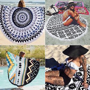 Indian Bohemian Mandala Tapestry Hippie Round Beach Towel Bedspread Yoga Mats