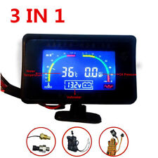 Universal 3IN1 Car LCD Water Temperature/Oil Pressure/Voltage Gauges w/ Sensors