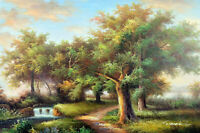 Oak Tree Forest Woods Stream Lake Path 24X36 Oil On Canvas Painting STRETCHED