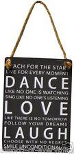 Mini Metal Sign - Dance Love Laugh - Shabby Chic with Jute Hanger