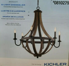 Kichler 34820 6-Light Chandelier Distressed Black and Aged Wood Finish NEW