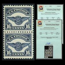 US #C5; 16¢ AIRMAIL EMBLEM, VF-OG-MNH, PO FRESH VERTICAL PAIR with PSE, CV $260+
