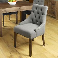 Shiro Premium Slate Grey Studded Pair of Dining Chairs Dark Wood Walnut Legs