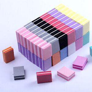50X Double-sided Mini Nail File Nail Sanding Buffer Colorful Sponge Nail Polish*