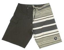 Da Hui Men's Black Tan Drawstring 1/2 Patterned Board Shorts Men's Size 36