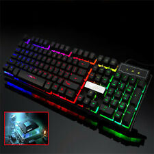 Ergonomic Wired LED Backlit USB Game Keyboard Mouse For PC Laptop Win10 BK/WH US
