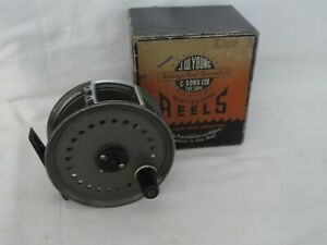 """Vintage JW Young 4"""" Wide Drum Beaudex Fly Fishing Reel + line guard and boxed"""