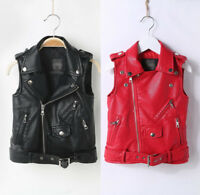Kids Boys Girl Leather Motorcycle Vest Jacket Sleeveless Biker Waistcoat Outwear