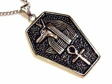 ANUBIS SARCOPHAGUS PENDANT unisex necklace Ankh Egypt Africa God Goth tomb F6