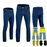 Mens Jeans Motorcycle Reinforced Jeans Made With DuPont™ Kevlar® Biker Pant Blue