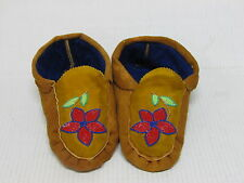 NATIVE AMERICAN BEADED MOOSE HIDE MOCCASINS BEAUTIFUL FLOWER DESIGN 10 INCHES