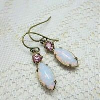 Women's Yellow Gold Filled White Opal Trendy Jewelry Party Ear Dangle Earrings