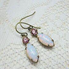 Yellow Gold Filled White Opal Women Trendy Jewelry Party Ear Dangle Earrings