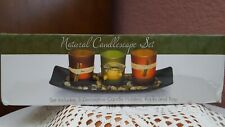 Natural Candlescape Set 3 Decorative Candle Holders Rocks & Tray CANDLES Home
