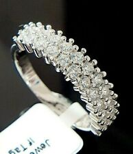 Ladies 925 Sterling Silver Simulated Diamond Half Eternity Band Ring Size O