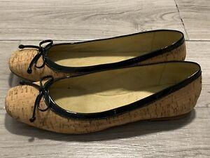 Stuart Weitzman Black Patent Leather Camel Cork Bow Ballet Flats Slip On Shoes 8