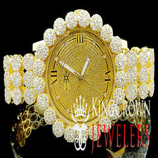 Mens Khronos Joe Rodeo 14k Yellow Gold Finish Cluster Bezel Iced Out Wrist Watch