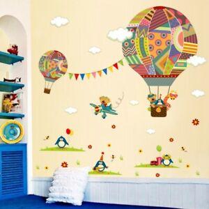 Cartoom Hot Air Balloon Wall Decal Nursery Baby Room Decor Vinly Art Sticker