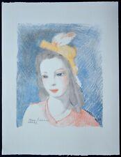 """Lithographie de Marie LAURENCIN """" Femme à la coiffe  jaune """""""