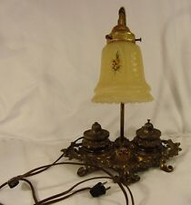 Vintage Brass/Cast Metal DOUBLE INKWELL 15 INCH DESK LAMP Floral Globe WORKS