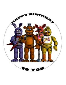 """7.5"""" 19cm FIVE NIGHTS AT FREDDY'S PERSONALISED WAFER/FONDANT PAPER CAKE TOPPER"""