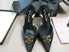 Nina Black Satin Luster Pointy Toe Sling Back Shoes  size 10
