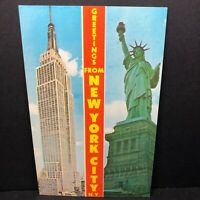 Vintage Postcard New York City Statue Liberty Empire State Building