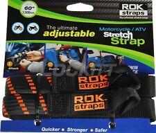 """ROK Straps 1"""" Set Flat Bungee Adjustable Tie Downs Black Orange"""