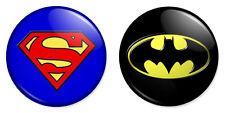 "2 x Superman & Batman Combo 25mm 1"" Pin Badges DC Superhero Classic Logos"