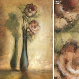 """24""""x36"""" ALWAYS & FOREVER I by REBECCA BURTON LONELY FLOWER IN VASE SHADOW CANVAS"""