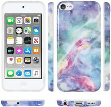 iPod Touch 5th 6th & 7th Gen - Hard Rubber Case Cover Blue Nebula Galaxy Marble