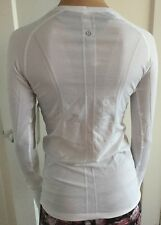 LULULEMON Size 6 Swiftly Tech LS Crew White Run Fitness Yoga Long Sleeve Top NWT