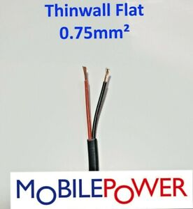 0.75mm²  14amp 12-24v Thinwall FLAT Automotive Cable 2 core twin Cut to length