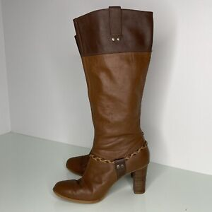 Colorado Women's Brown Tan Leather Pull On Knee High Heel Boots Size 8  Featuval
