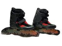K2 Voodoo Line Rollerblade Men's Exotech Size 9 In-line Skates RED,GREEN & BLACK