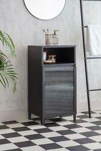 Matt Black Smoke Glass Brass Ensuite Bathroom Organiser Shelves Storage Cabinet