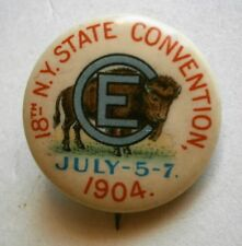 """1904 """" C E  - 18th N.Y. State Convention - July 5-7"""" Pinback Button by Whitehead"""