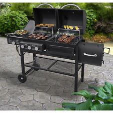 Smoke Hollow Gas, Charcoal and Smoker Grill with Side Burner in Black