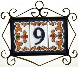 Malaga Ceramic Hand-Painted Spanish Door Number Tiles & Filigree Metal Frames