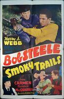 1939 Smoky Trails One Sheet Movie Poster Vintage Original
