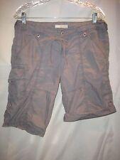 A Wear Ireland sz EU12 US 6 Grey Combat Cargo Shorts Roll Up Legs Web Tie Belt
