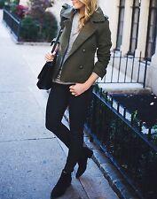 BANANA REPUBLIC NWT ITALIAN Fabric Double Breasted Pea Coat Jacket Medium M