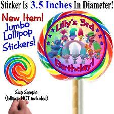 12 Trolls Birthday Party Baby Shower 3.5 in Jumbo Lollipop Sticker Personalized