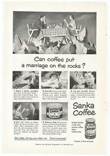 1951 ORIGINAL INSTANT SANKA COFFEE AD MARRIAGE TROUBLE MAN CAVE SHE SHED DECOR