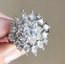 Park Lane Incredible Ring Size 9 Cz Cluster Arrangement Silver Tone EUC