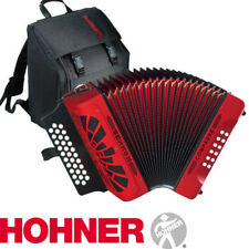 NEW Hohner COMPADRE FBE  FA 31 Button Diatonic Accordion - RED with Gig Bag