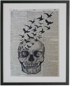 Skull Wall Print No.311, dictionary art, black birds, gothic art